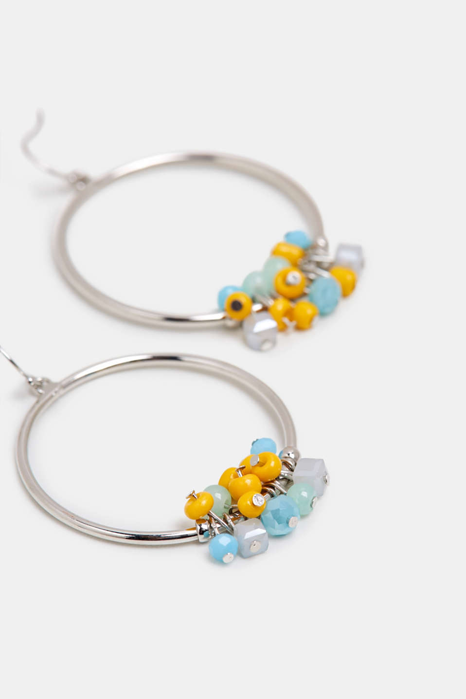 Hoop earrings with colourful little beads, SILVER, detail image number 1