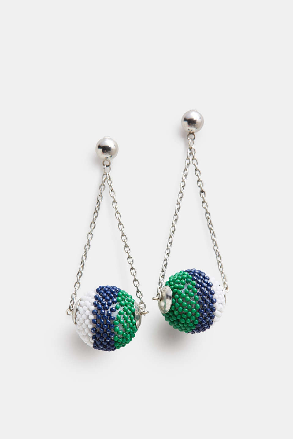 Esprit - Stud earrings with bead-trimmed balls