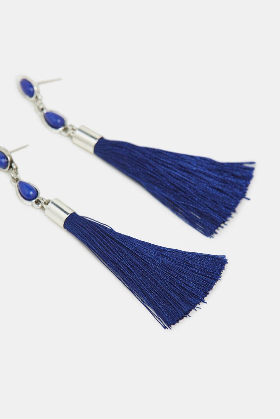 Stud earrings with tassel, BLUE, detail image number 1