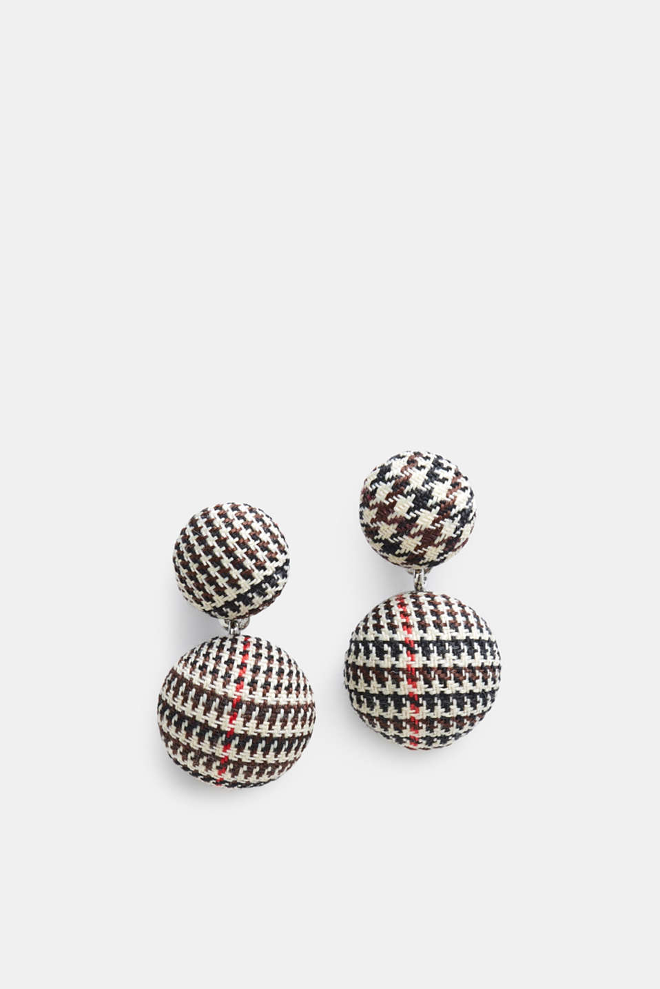 Stud earrings in a houndstooth look, BLACK, detail image number 0