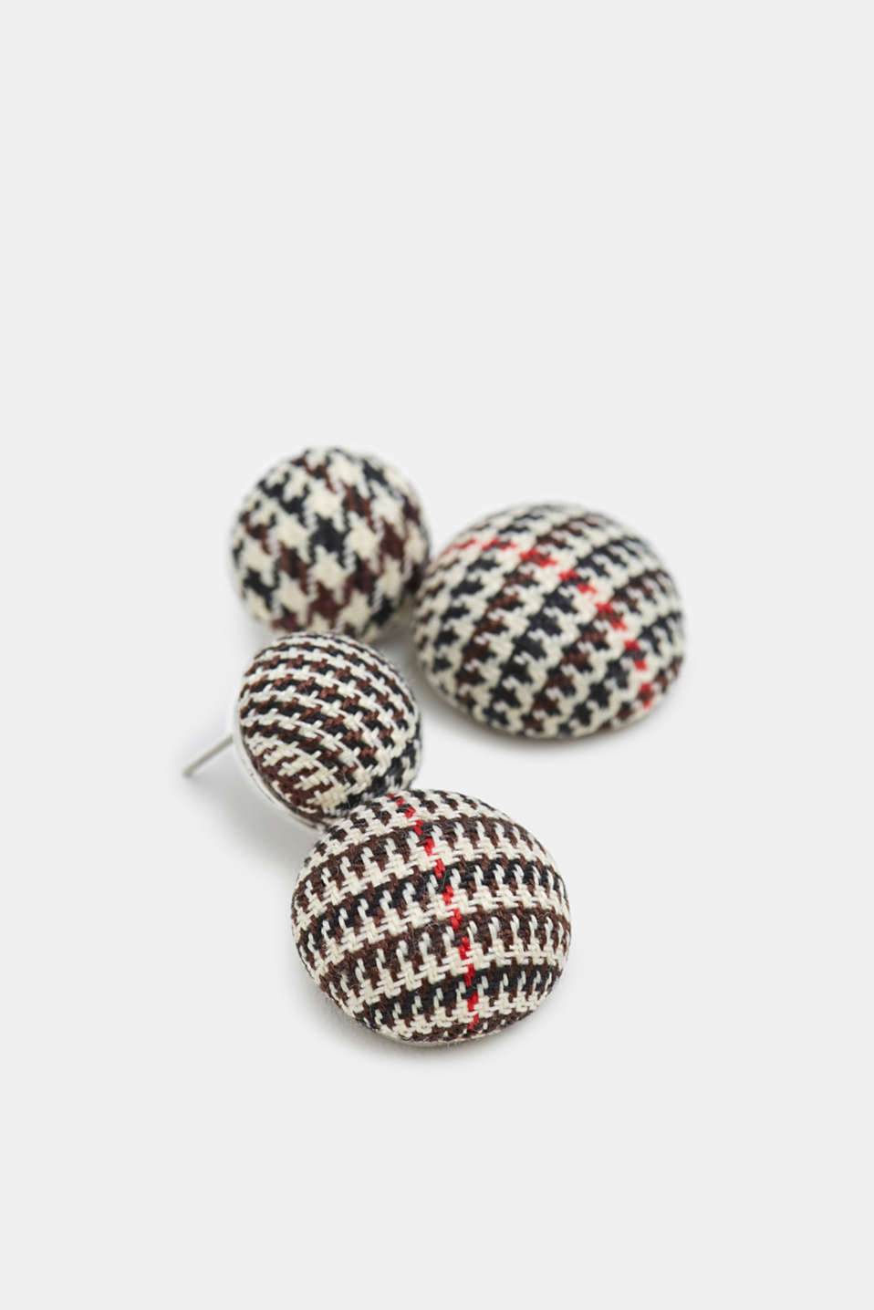 Stud earrings in a houndstooth look, BLACK, detail image number 1