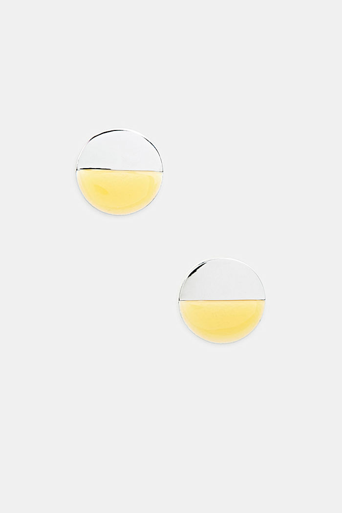 Circular stud earrings in silver and yellow, YELLOW, detail image number 0