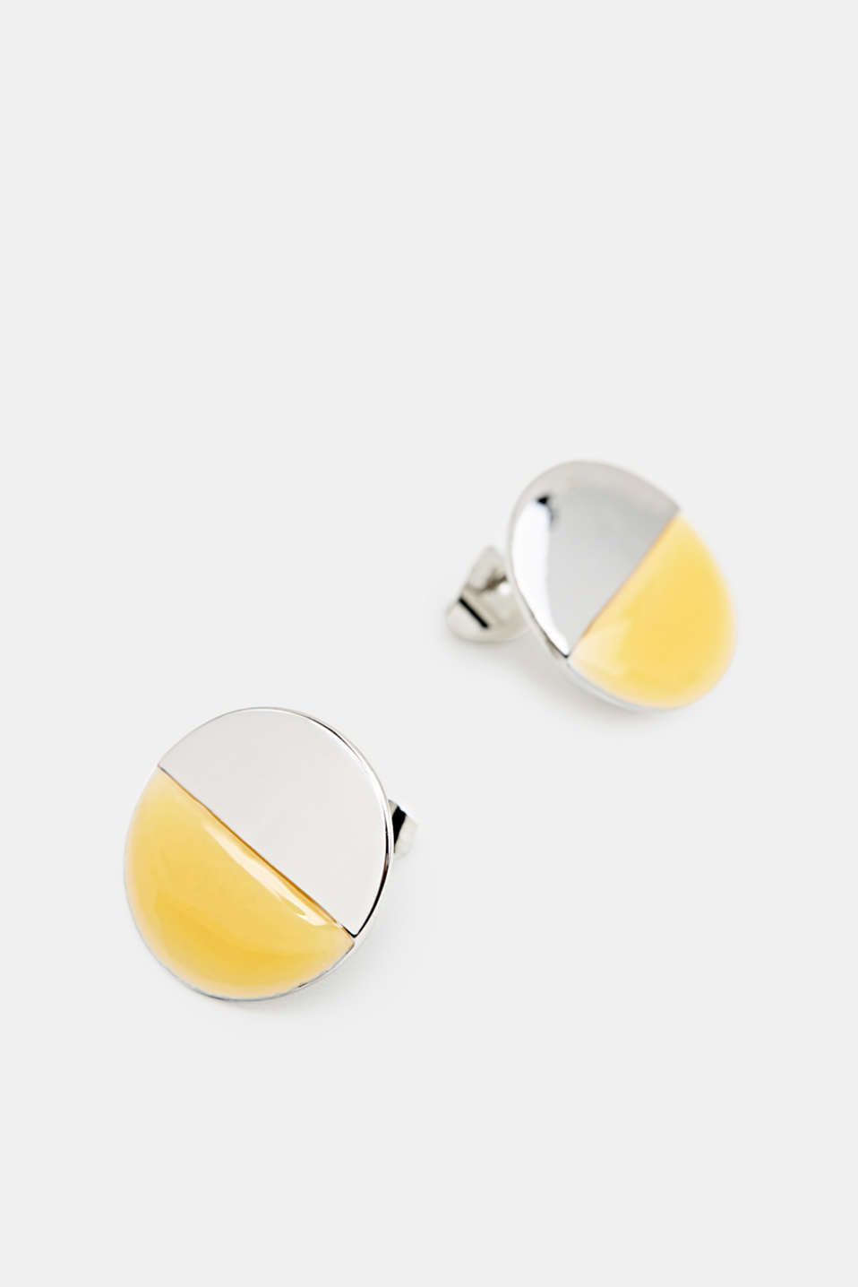 Circular stud earrings in silver and yellow, 1COLOR, detail image number 1