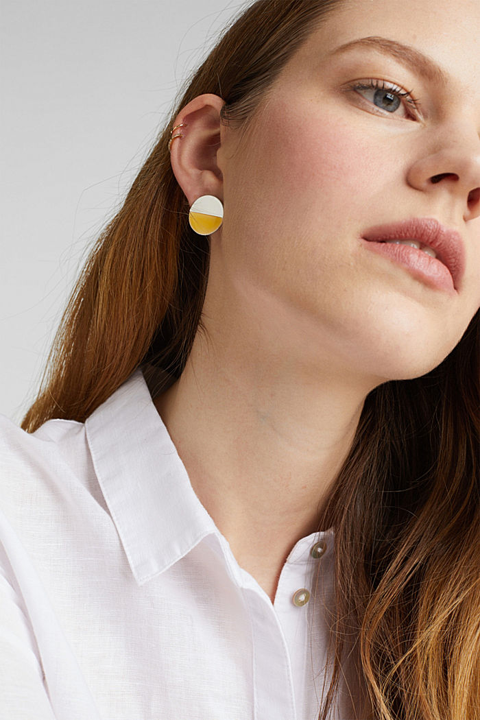 Circular stud earrings in silver and yellow, YELLOW, detail image number 2