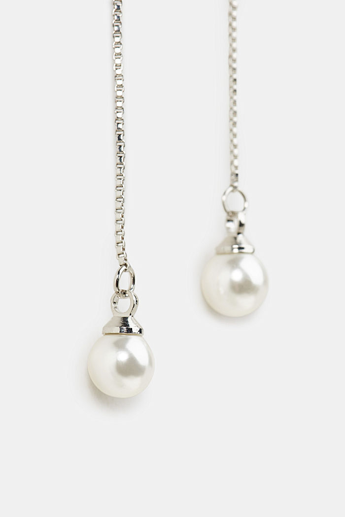Pendulum stud earrings with artificial pearls, SILVER, detail image number 1