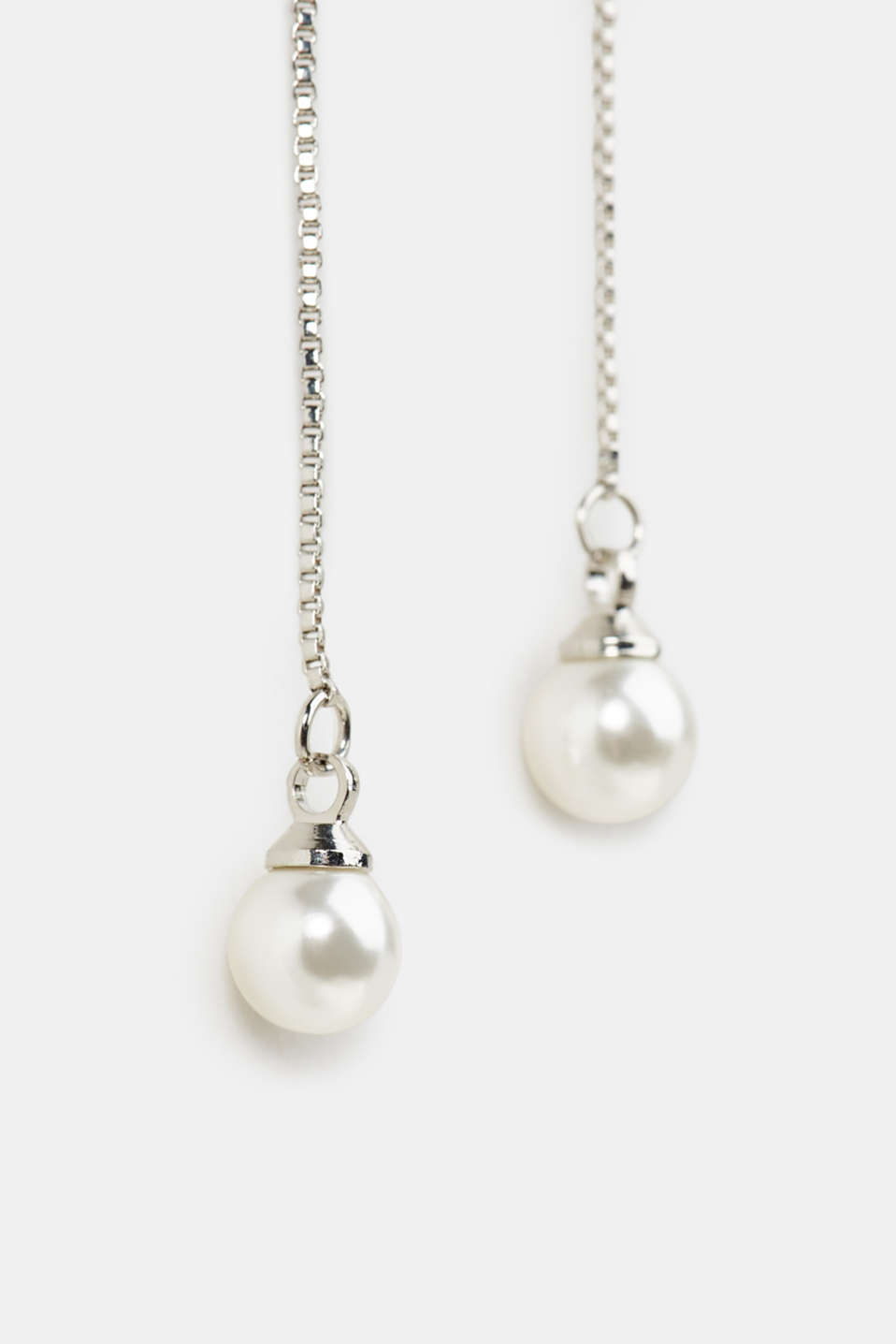 Pendulum stud earrings with artificial pearls, 1COLOR, detail image number 1