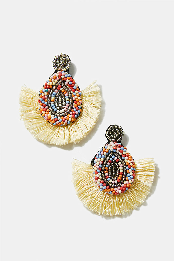 Tassel earrings with colourful beads, MULTICOLOR, detail image number 0