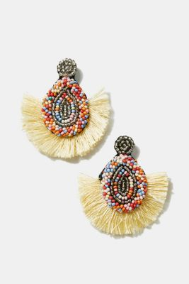 Tassel earrings with colourful beads, MULTICOLOR, detail