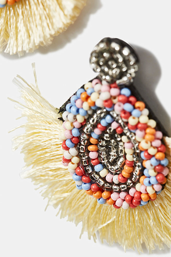 Tassel earrings with colourful beads, MULTICOLOR, detail image number 1