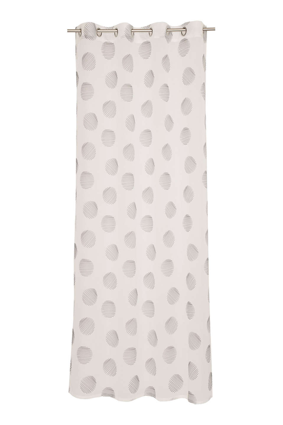 Printed eyelet curtain in sheer voile, WHITE-BLACK, detail image number 0
