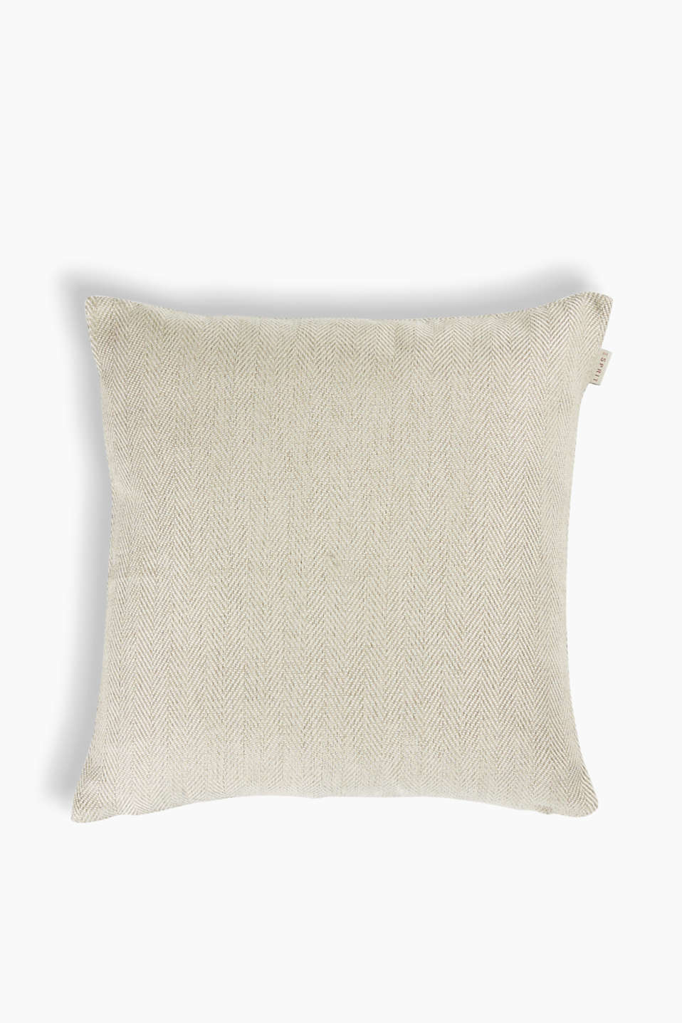 Cushion cover in textured fabric with a melange, herringbone pattern