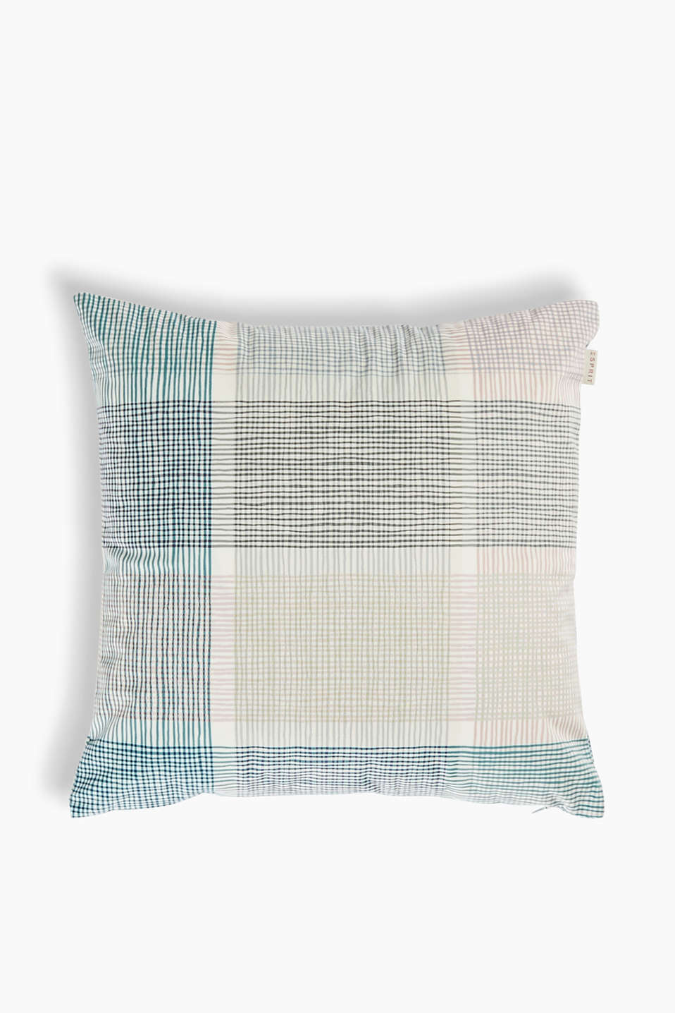 Cushion cover with a lattice pattern in cool colours, made of high-quality micro velvet