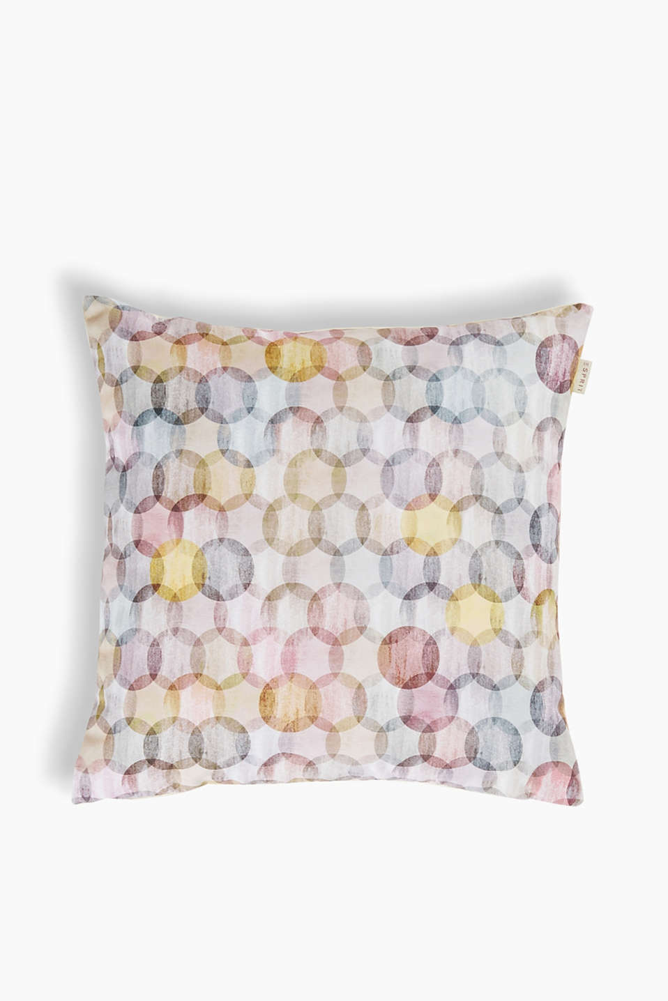 Cushion cover with a digital print and plain-coloured back section, with colourful circles in a batik look