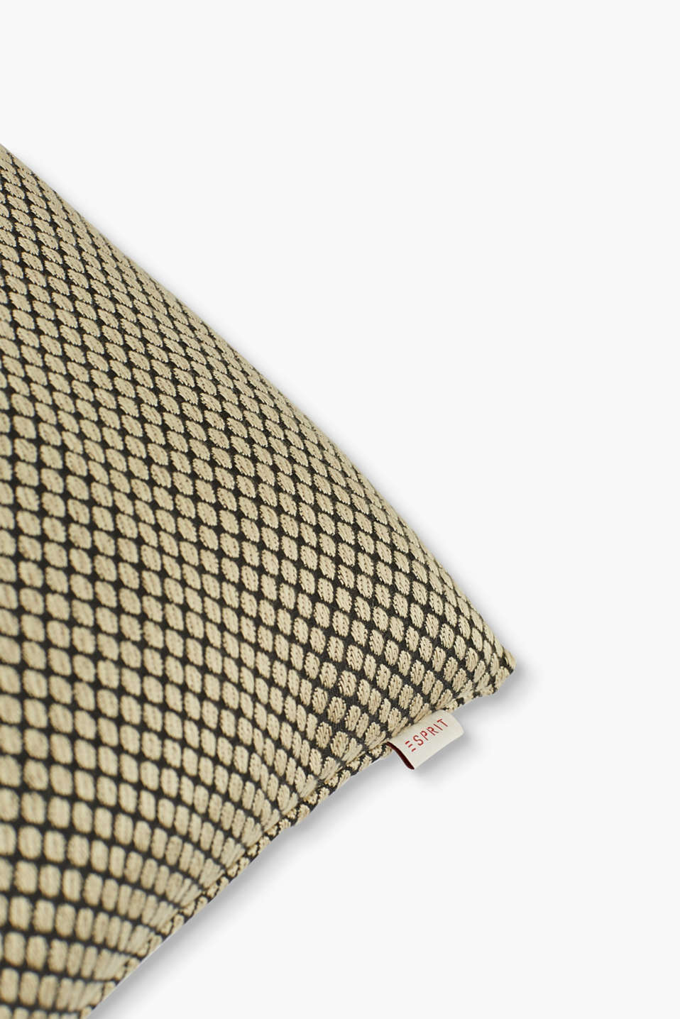 Woven cushion cover + golden polka dots