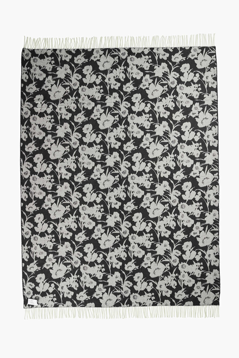 Reversible blanket with a floral pattern, BLACK, detail image number 2