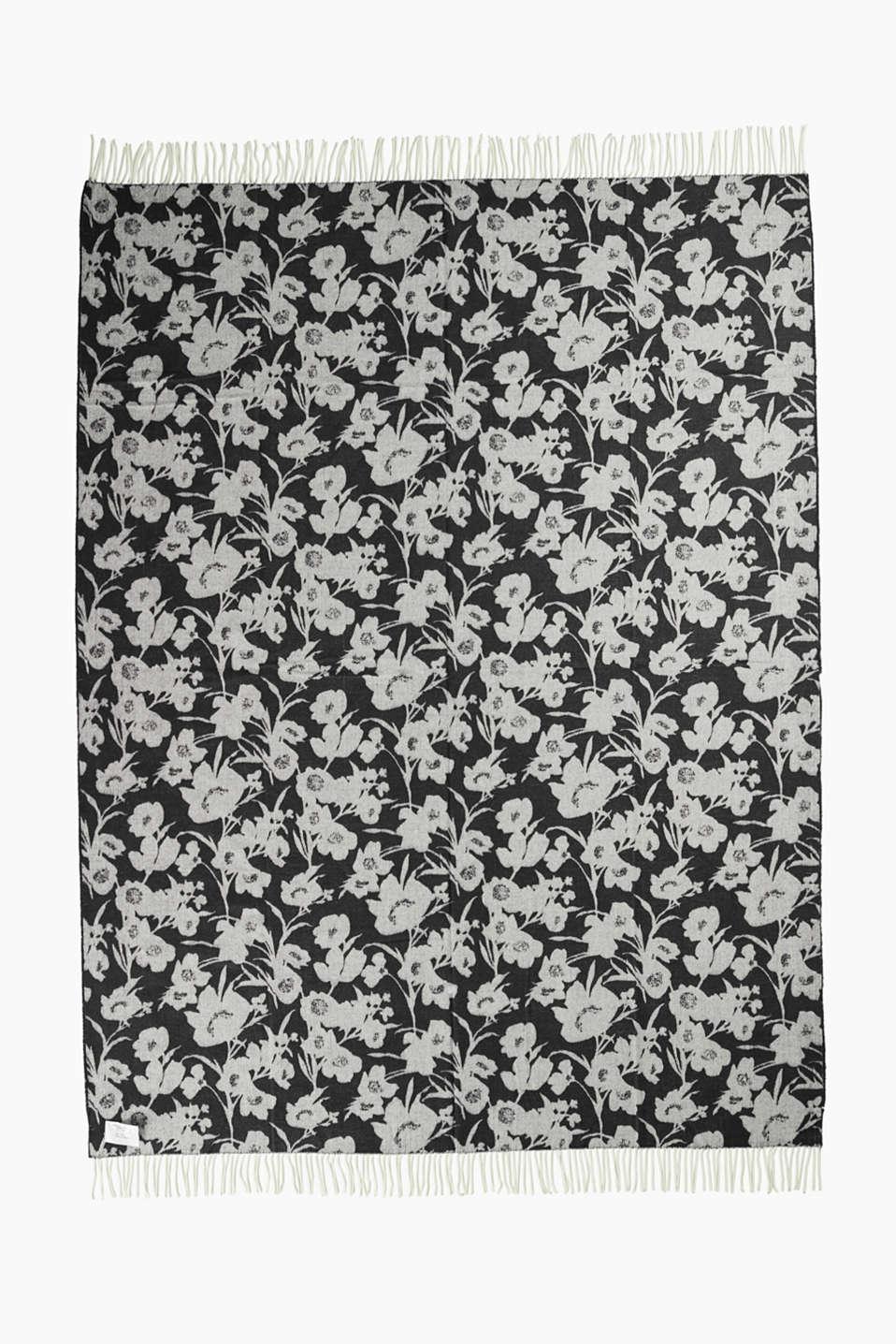 Reversible blanket with a floral pattern, BLACK, detail image number 3