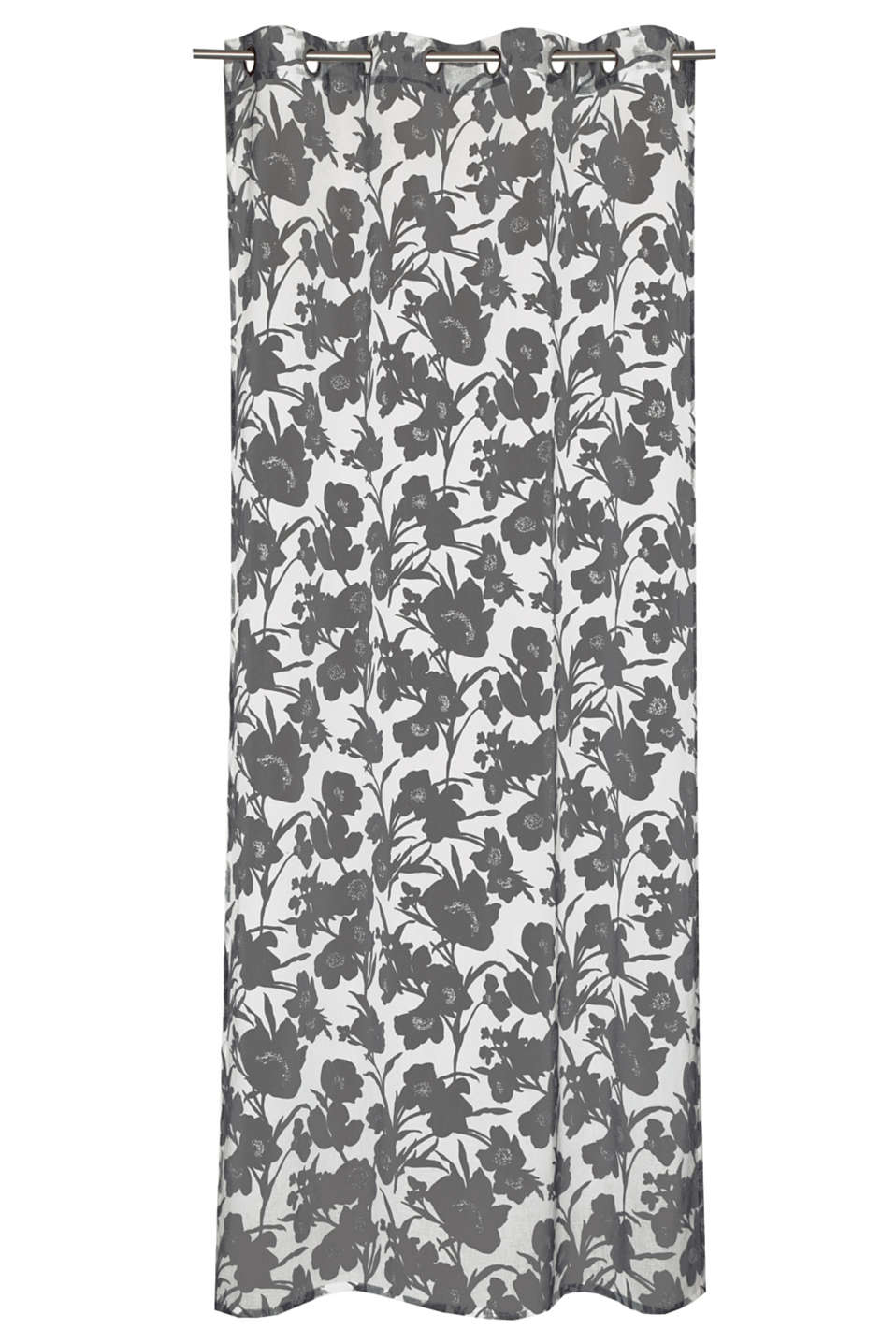 Transparent eyelet curtain with a digital print and modern floral pattern