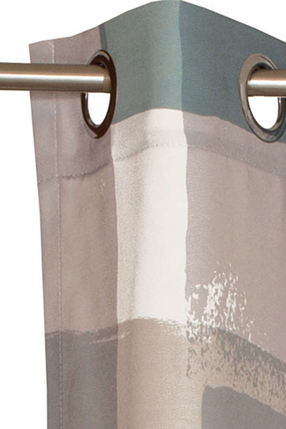 Eyelet curtain with a graphic print