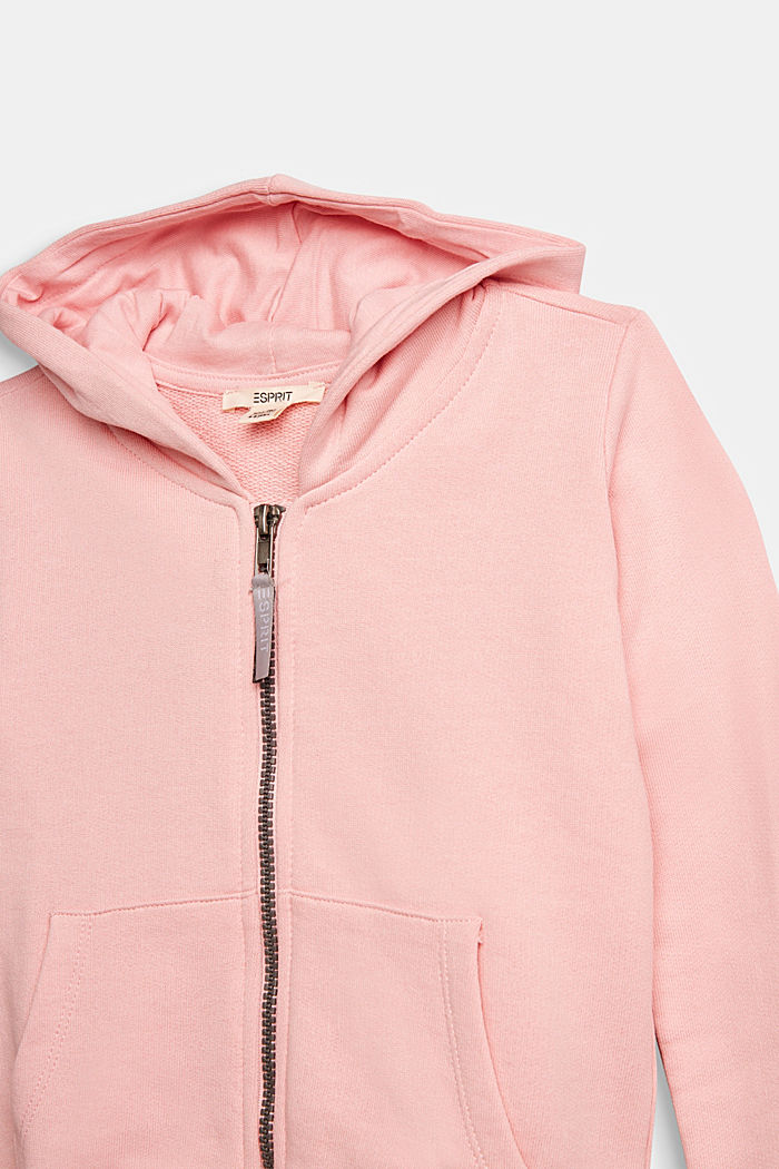 Sweatshirt cardigan in 100% cotton, LIGHT PINK, detail image number 2