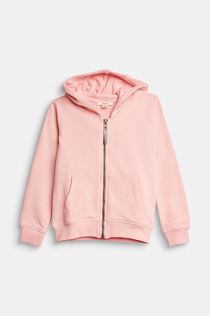 Sweatshirt cardigan in 100% cotton, LIGHT PINK, overview
