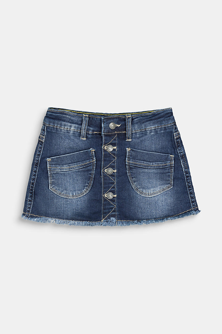 Recycled: denim skirt with a button placket