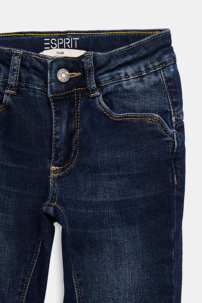 Adjustable waistband jeans with recycled cotton, BLUE DARK WASHED, detail image number 2