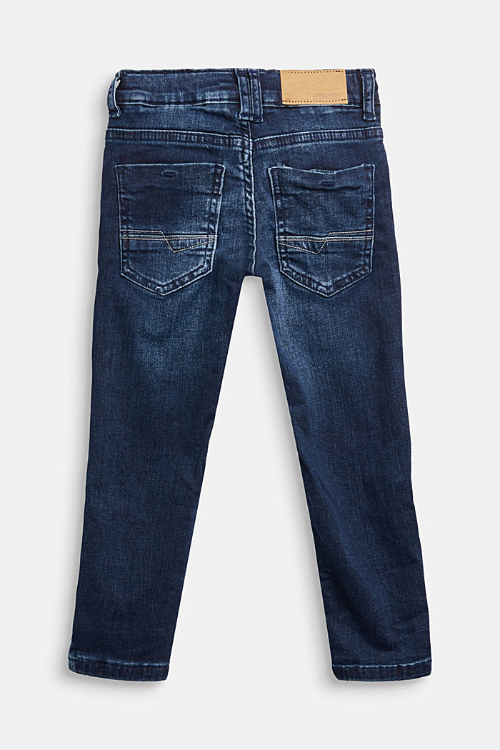Recycled: stretch jeans with an adjustable waistband, BLUE DARK WASHED, detail image number 1