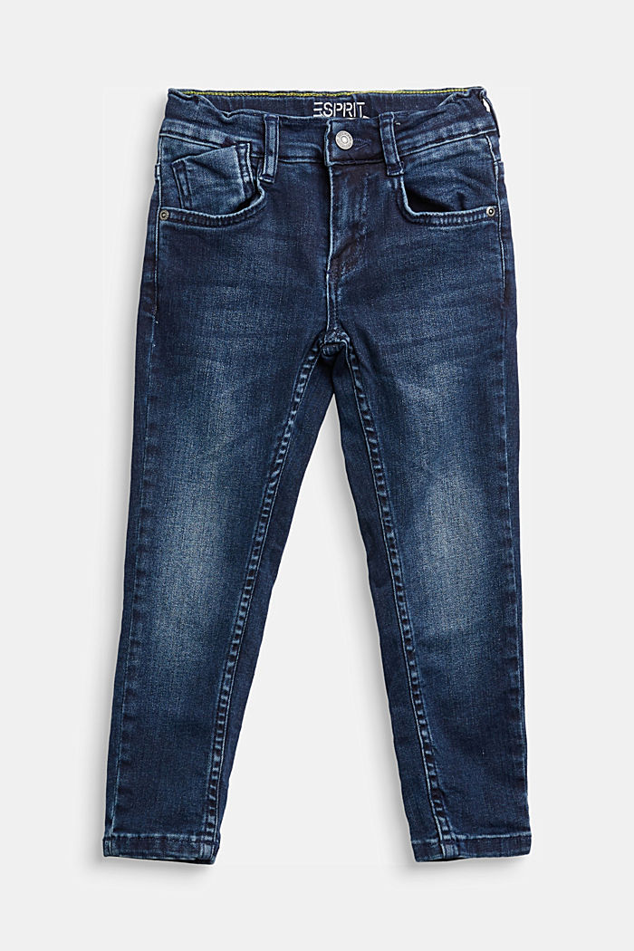 Recycled: stretch jeans with an adjustable waistband, BLUE DARK WASHED, overview