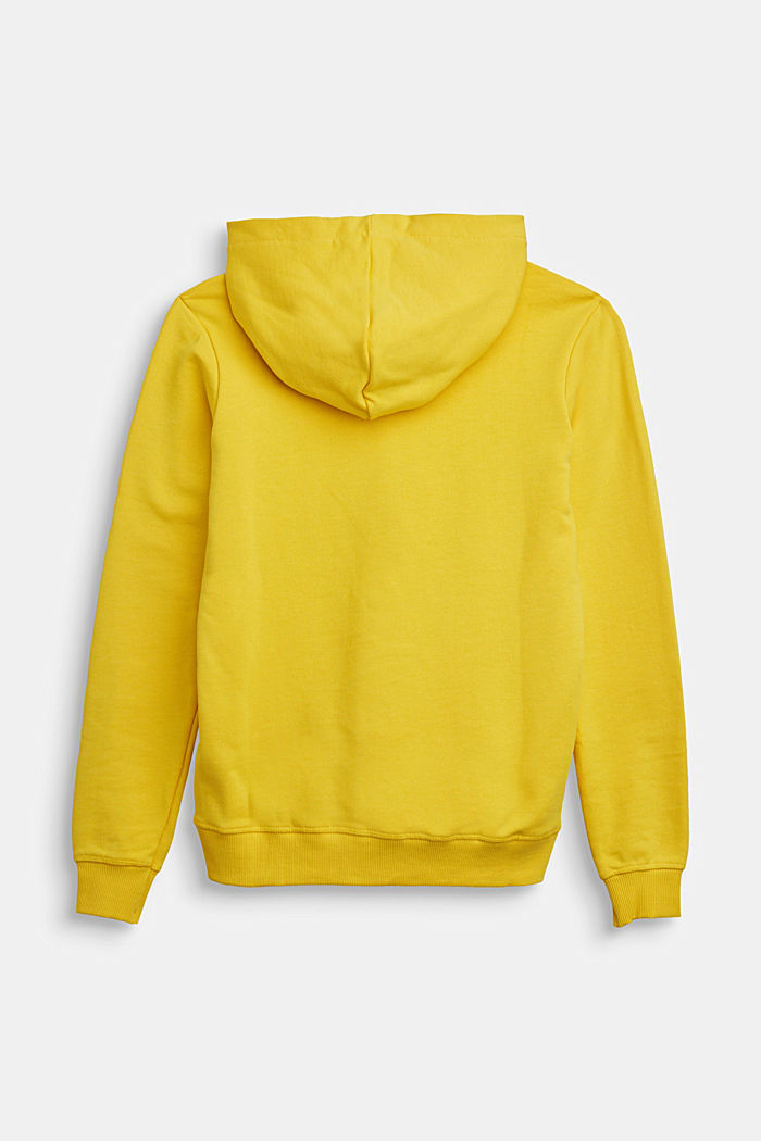 Hoodie with logo print, 100% cotton, YELLOW, detail image number 1