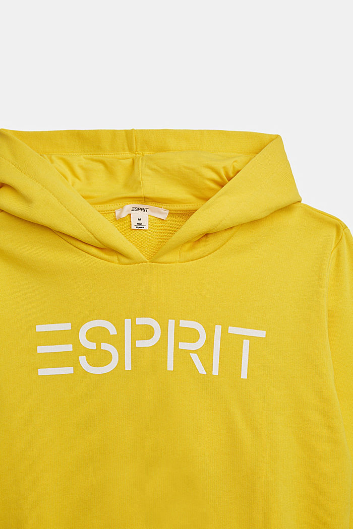 Hoodie with logo print, 100% cotton, YELLOW, detail image number 2