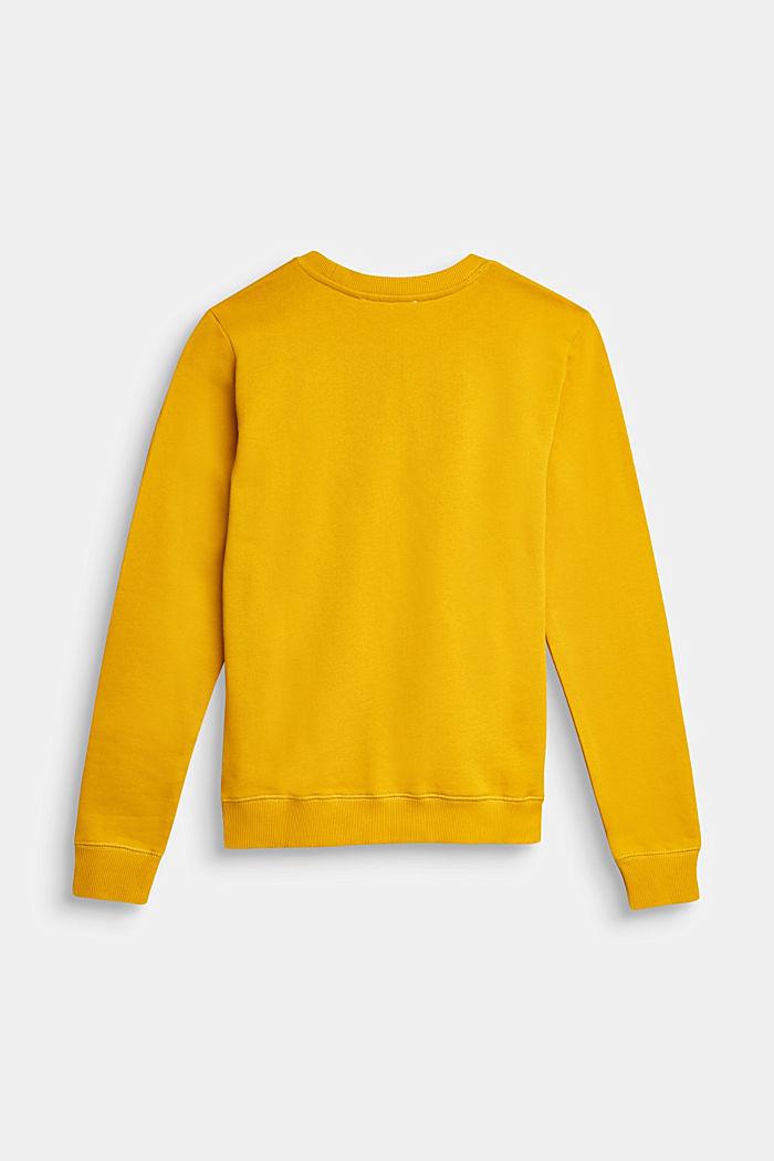 Logo print sweatshirt, 100% cotton, AMBER YELLOW, detail image number 1