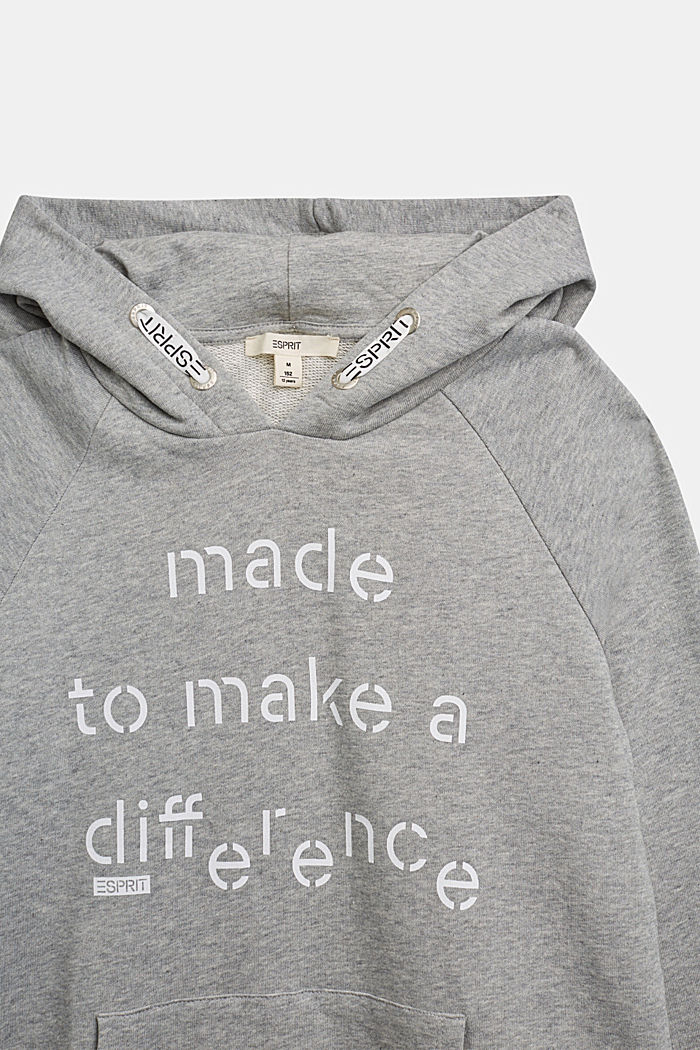 Recycled: Hoodie in 100% cotton, PASTEL GREY, detail image number 2