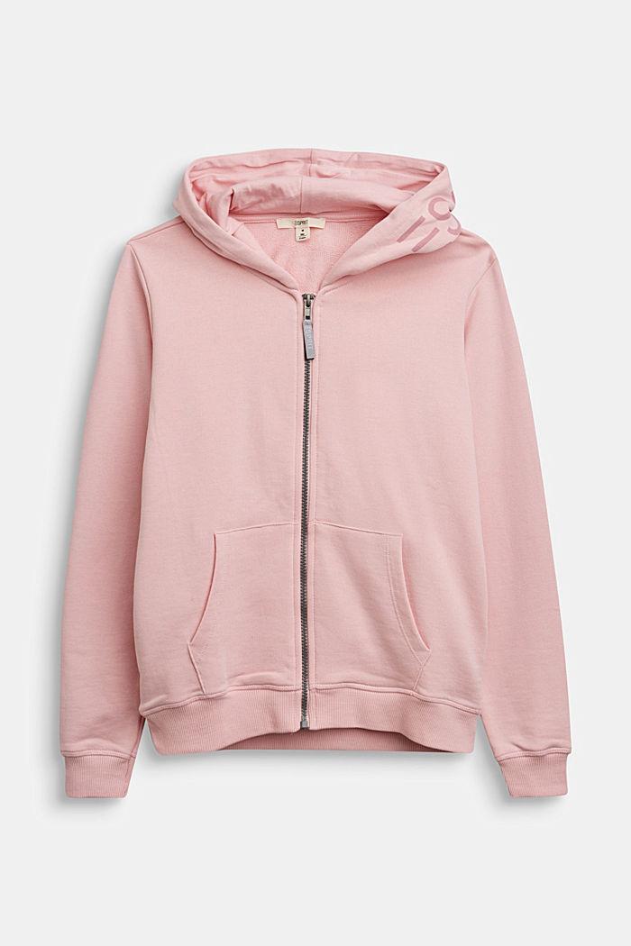 Sweatshirt cardigan in 100% cotton, LIGHT PINK, detail image number 0