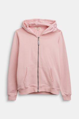 Sweatshirt cardigan in 100% cotton, LIGHT PINK, detail