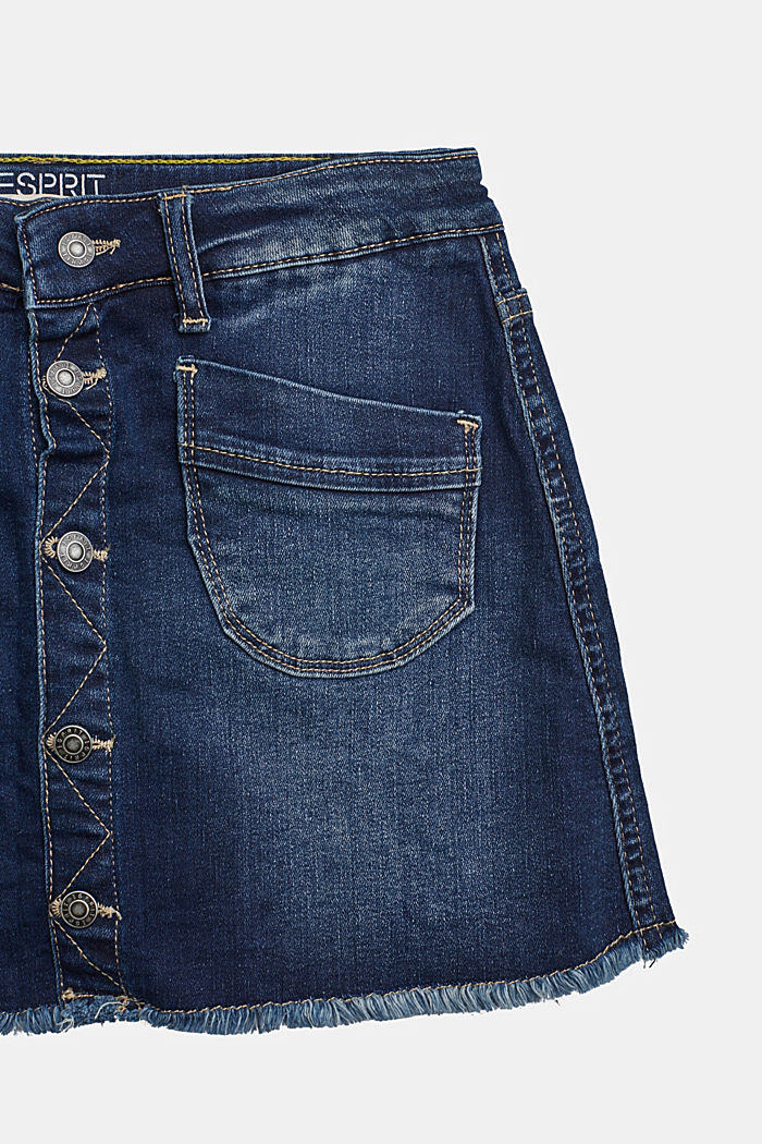 Recycled: Denim skirt with a button placket, BLUE DARK WASHED, detail image number 2