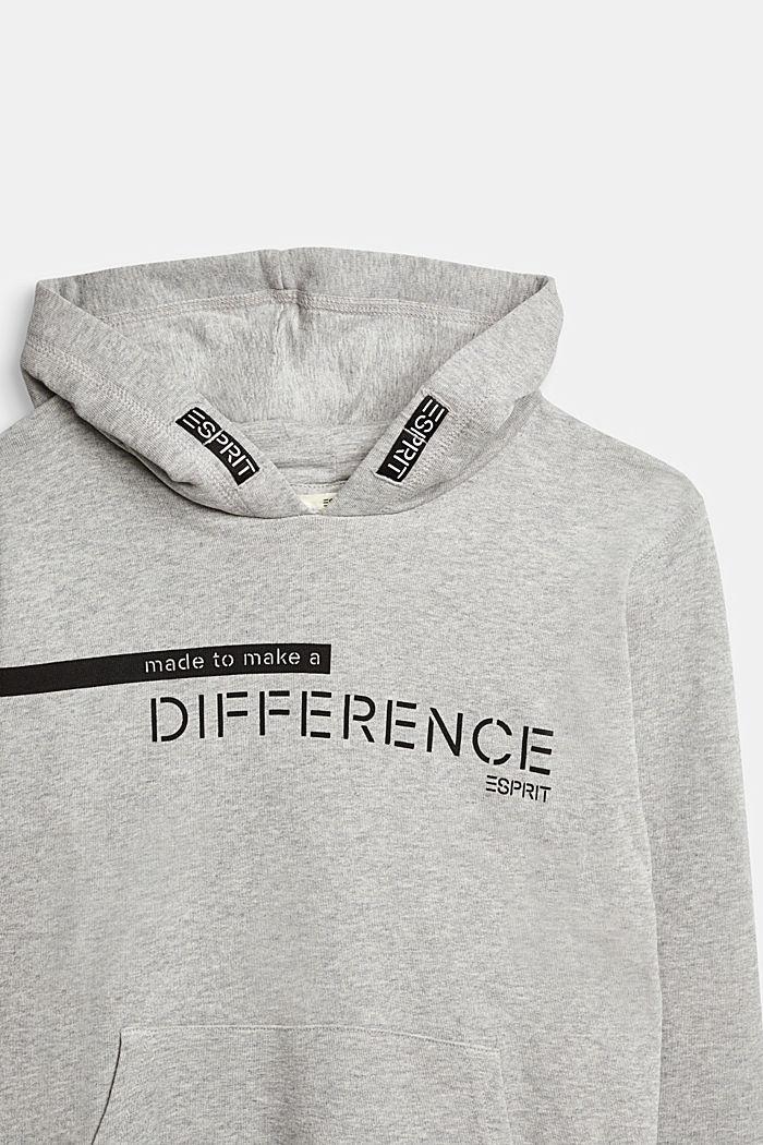 Recycled: Sweatshirt hoodie in 100% cotton, PASTEL GREY, detail image number 2