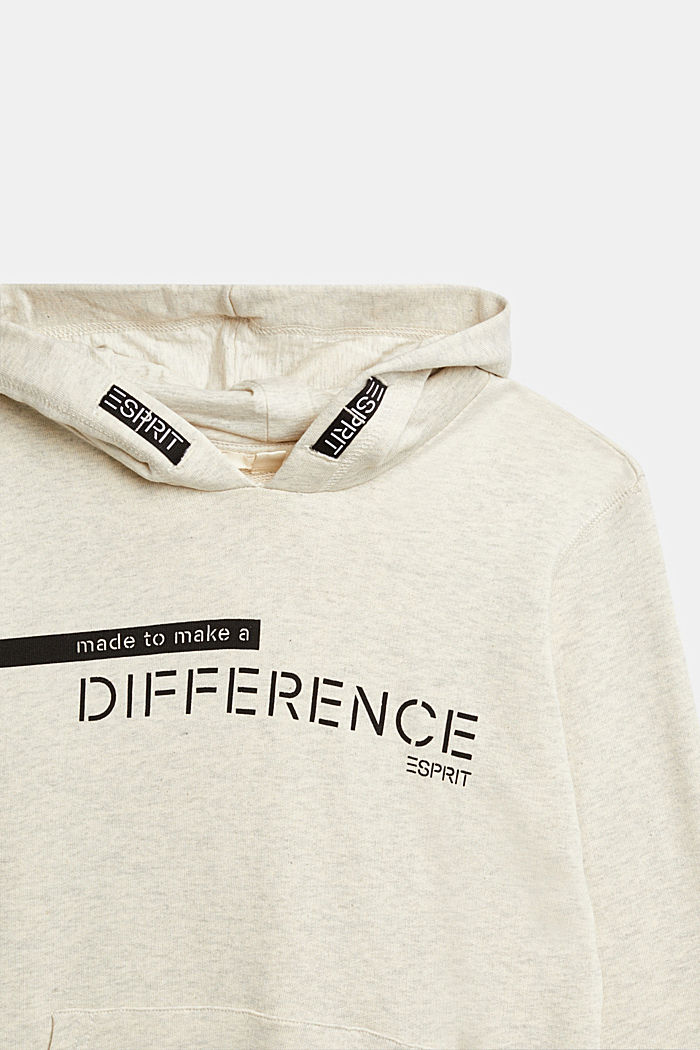 Recycled: Sweatshirt hoodie in 100% cotton, OFF WHITE, detail image number 2