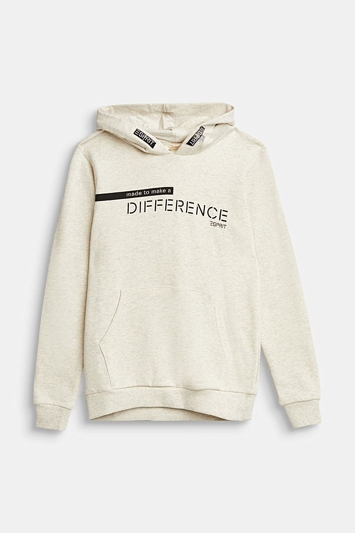 Recycled: Sweatshirt hoodie in 100% cotton, OFF WHITE, detail image number 0