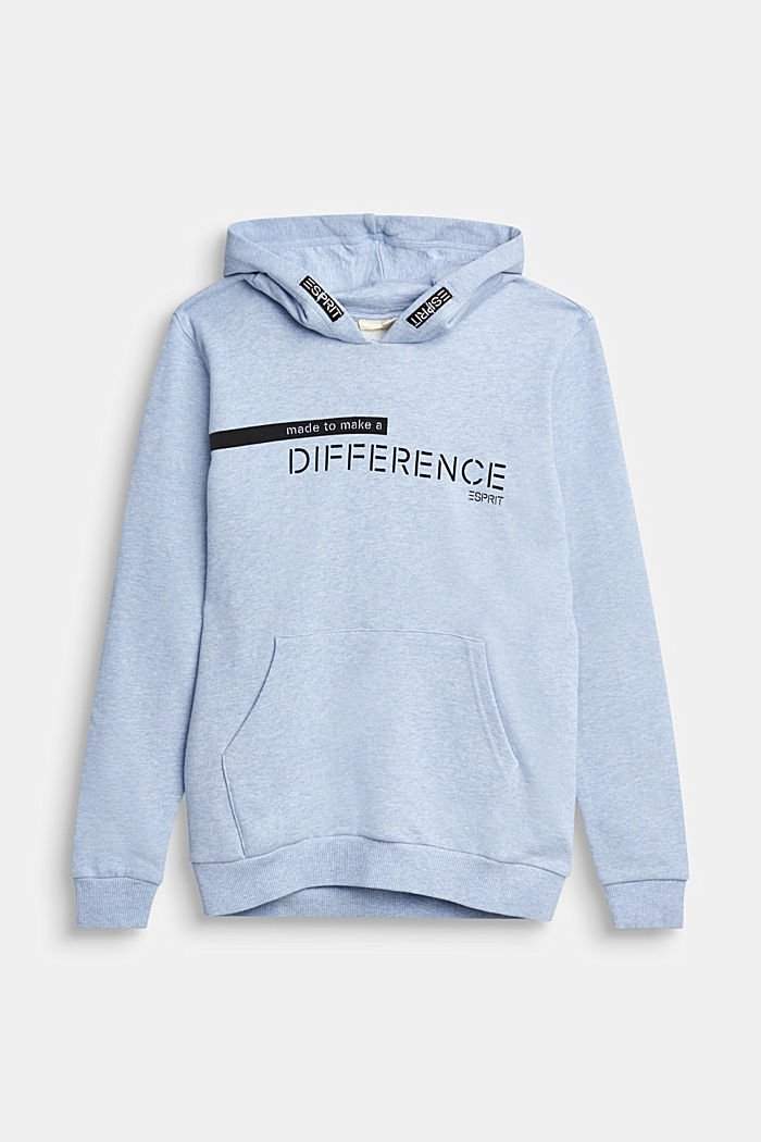 Recycled: Sweatshirt hoodie in 100% cotton, PASTEL BLUE, overview