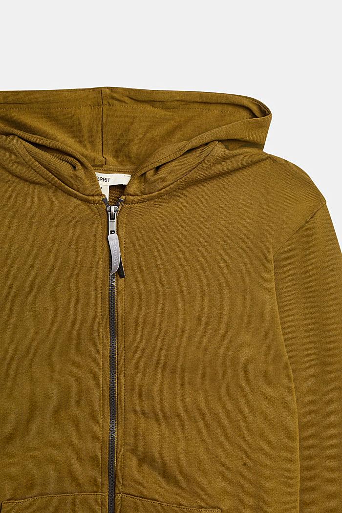 Logo sweatshirt cardigan made of 100% cotton, OLIVE, detail image number 2