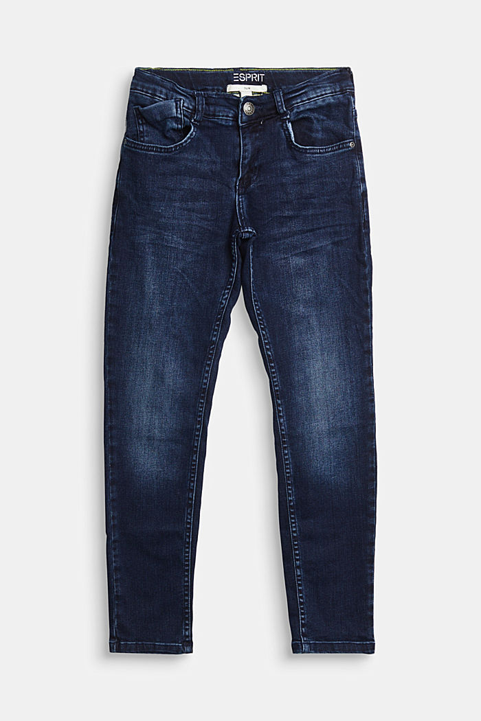 Stretch jeans with recycled cotton, BLUE DARK WASHED, detail image number 0