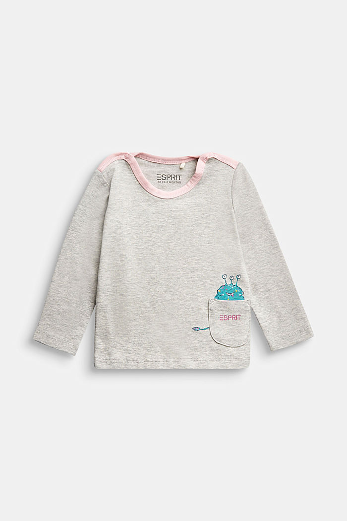 Long sleeve print T-shirt, organic cotton, MEDIUM GREY, detail image number 0