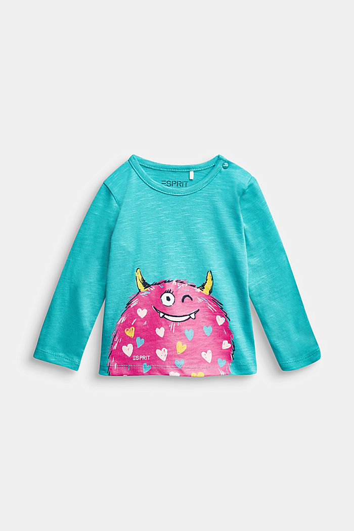 Long sleeve T-shirt with monster print, organic cotton, LIGHT BLUE, detail image number 0