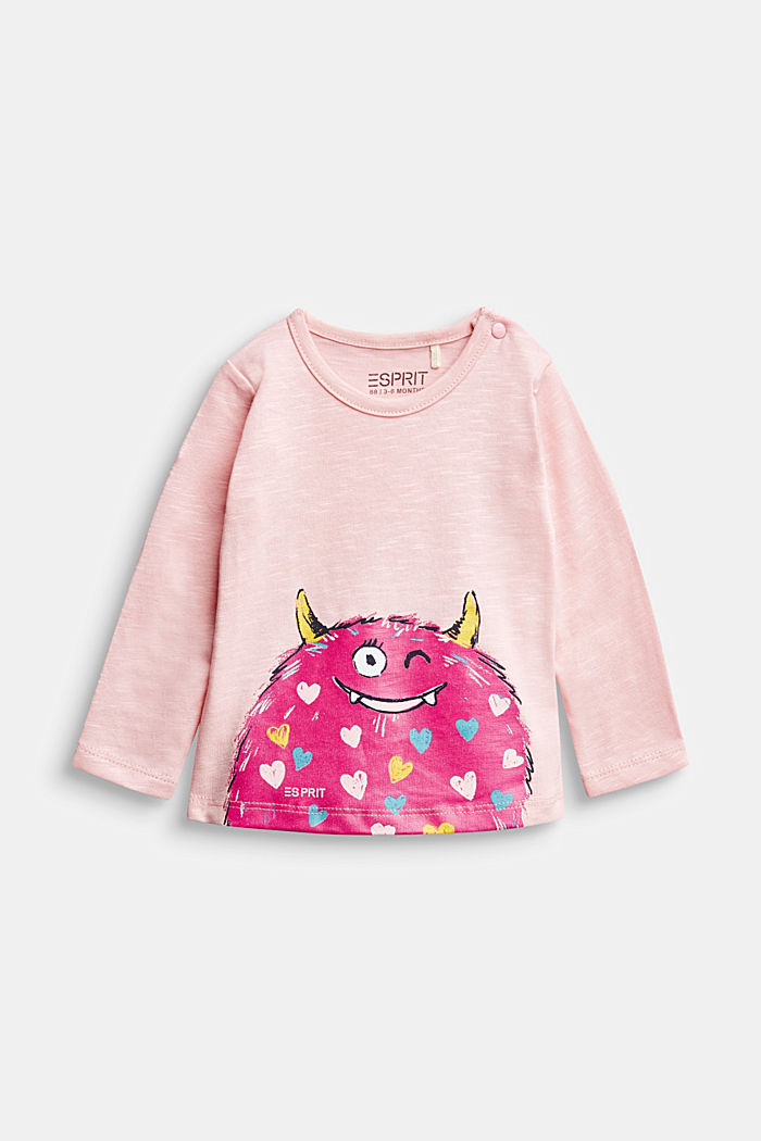 Long sleeve T-shirt with monster print, organic cotton, LIGHT PINK, detail image number 0
