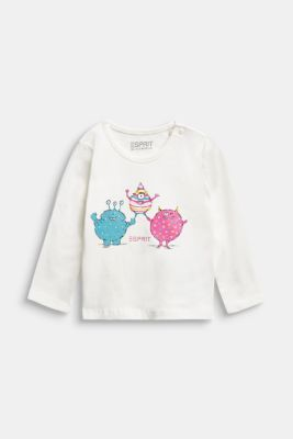 Long sleeve T-shirt with monster print, organic cotton, OFFWHITE, detail