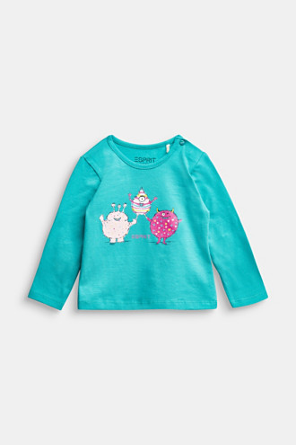 Long sleeve T-shirt with monster print, organic cotton