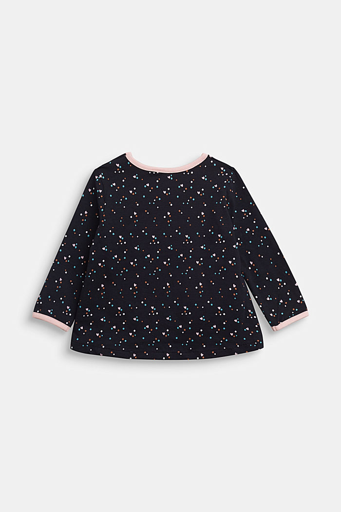 Long sleeve top with a heart print and organic cotton, NAVY, detail image number 1