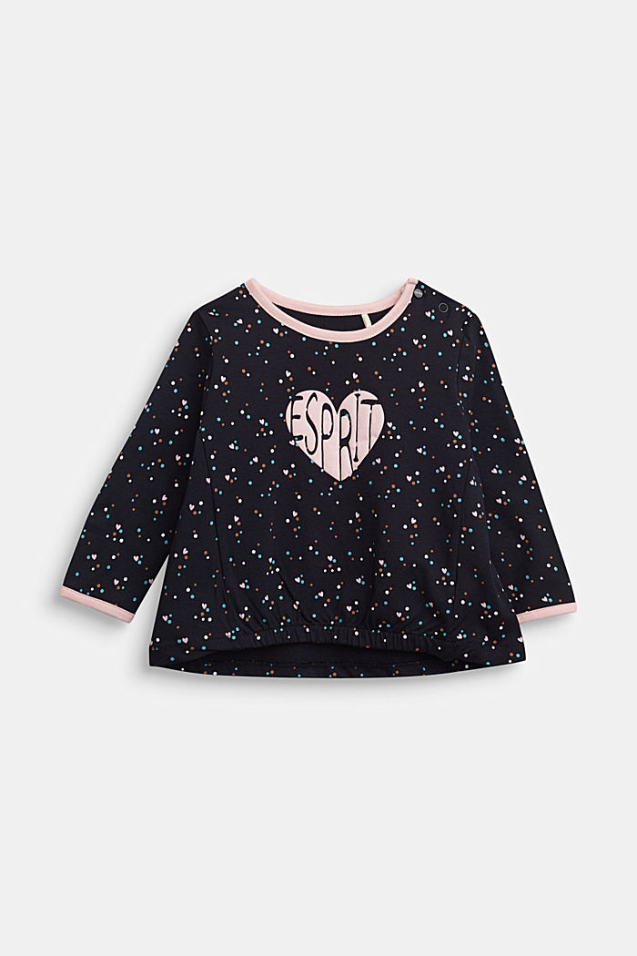 Long sleeve top with a heart print and organic cotton, NAVY, detail image number 0