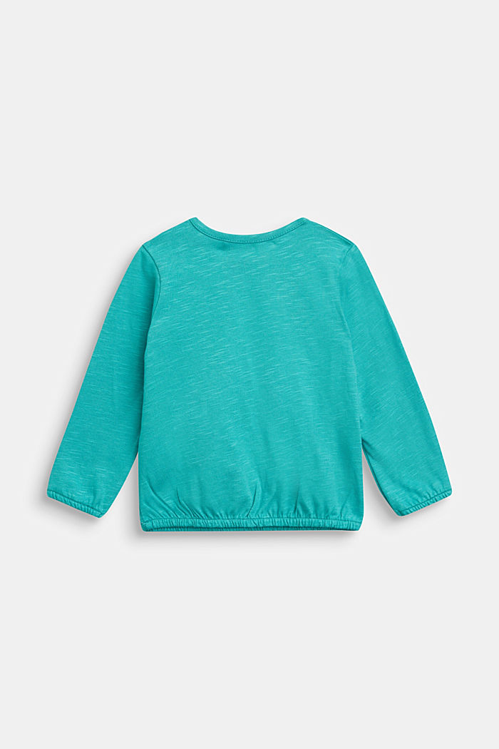Long sleeve T-shirt with monster print, organic cotton, TEAL GREEN, detail image number 1