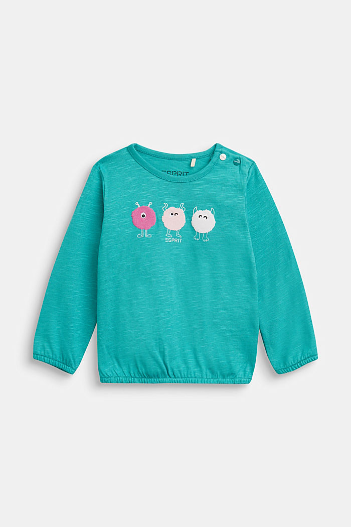 Long sleeve T-shirt with monster print, organic cotton, TEAL GREEN, detail image number 0